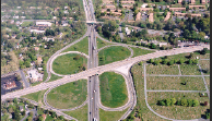 Aerial view of the project area showing a cloverleaf intersection